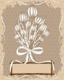 Carta floreale d'annata con gli elementi disegnati a mano Fotografia Stock
