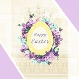 Carta floreale di Pasqua Pagina del modello con l'iscrizione scritta a mano Pasqua felice Le alette di filatoio, le insegne, i ma Immagine Stock