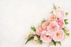 Carta floreale festiva rosa delicata sbocciante del fondo dei fiori di estate, del mazzo pastello e molle immagini stock libere da diritti