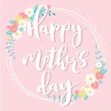 Carta floreale rosa-chiaro di festa della mamma felice Fotografia Stock