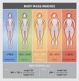 Carta gráfica do diagrama do índice de massa corporal com silhuetas do corpo, cinco classes e fórmulas ilustração royalty free