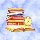 Carta greating dell'acquerello Amo imparare Illustrazione di materia d'insegnamento illustrazione di stock