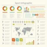 Carta infographic de la plantilla del deporte Foto de archivo libre de regalías