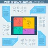 Carta Infographic de la tableta e iconos Fotos de archivo libres de regalías