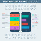Carta Infographic del teléfono e iconos Imagen de archivo