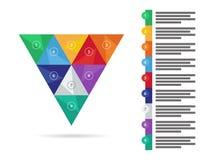 Carta infographic do diagrama da apresentação triangular geométrica colorida do arco-íris do espectro Molde do gráfico de vetor Fotos de Stock