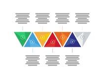 Carta infographic do diagrama da apresentação triangular geométrica colorida do arco-íris do espectro Molde do gráfico de vetor Imagens de Stock Royalty Free