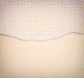 Carta lacerata con il modello funky sopra il fondo strutturato della tela Fotografia Stock