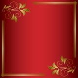 Carta luminosa rossa di vettore con la struttura dorata Fotografia Stock