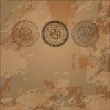 Carta luminosa su un fondo di tre cerchi di scarabocchio. Immagine Stock