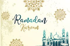 Carta, manifesto e carta da parati accoglienti di progettazione del kareem d'annata del Ramadan con il disegno di schizzo della m illustrazione di stock