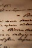 Carta manuscrita de la vendimia Foto de archivo libre de regalías