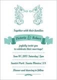 Carta marina dell'invito di nozze Fotografie Stock Libere da Diritti