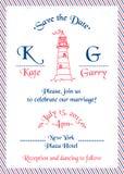 Carta marina dell'invito di nozze Fotografia Stock Libera da Diritti