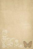 Carta marrón de las mariposas de la vendimia Foto de archivo libre de regalías