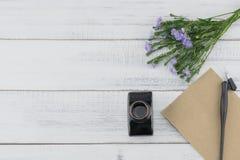 Carta marrone in bianco con a penna ed inchiostro obliquo Fotografie Stock