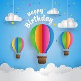 Carta moderna Art Style Air Balloon In l'illustrazione felice del biglietto di auguri per il compleanno del cielo Immagine Stock Libera da Diritti