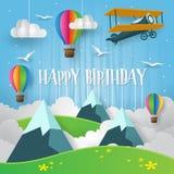 Carta moderna Art Style Mountain Adventure In l'illustrazione felice del biglietto di auguri per il compleanno del cielo Fotografia Stock Libera da Diritti