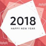 Carta moderna del nuovo anno 2018 Immagini Stock