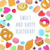 Carta multicolore e fondo di vettore dolce di buon compleanno Royalty Illustrazione gratis