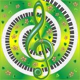 Carta musicale con con la chiave tripla Fotografia Stock Libera da Diritti