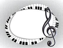 Carta musicale con la chiave tripla e tastiera su halftone3 Immagine Stock