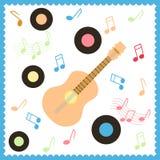 Carta musicale con la chitarra Fotografie Stock