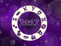 Carta natal del astro 2017 de la Navidad con símbolos del horóscopo Fotos de archivo libres de regalías