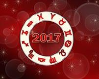 Carta natal del astro 2017 rojos del fondo de la Navidad con símbolos del horóscopo Fotografía de archivo