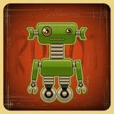 Carta nel retro stile con il robot Fotografie Stock