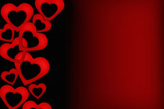 Carta nera e rossa del biglietto di S. Valentino Fotografie Stock Libere da Diritti