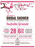 Carta nuziale dell'invito della doccia con il fiore di ciliegia Illustrazione Vettoriale