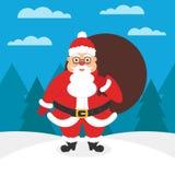 Carta o insegna per il nuovo anno o il Natale Santa con una borsa dei regali in sue mani Illustrazione di Natale D piana moderna Immagini Stock