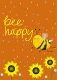 Carta o stampa umoristica su una maglietta Due api sveglie su un fondo arancio Illustrazione di vettore Ape di titolo felice royalty illustrazione gratis