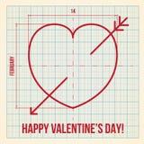 Carta originale di San Valentino su carta millimetrata Fotografia Stock