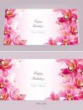 Carta orizzontale di compleanno alla moda con l'orchidea Immagini Stock Libere da Diritti
