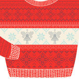 Carta ornamentale del maglione di Natale - maglione brutto del partito Fotografie Stock