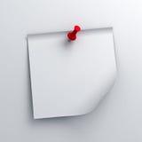 Carta per appunti appiccicosa bianca con il perno rosso di spinta su fondo bianco illustrazione di stock