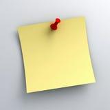 Carta per appunti appiccicosa gialla con il perno rosso di spinta su fondo bianco illustrazione vettoriale