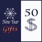 Carta per i regali del nuovo anno con il fiocco di neve decorativo illustrazione di stock