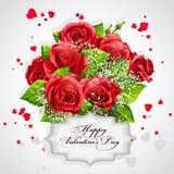 Carta per il cuore di San Valentino delle rose rosse Immagine Stock