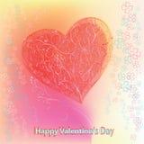 Carta per il San Valentino con cuore rosso astratto illustrazione di stock