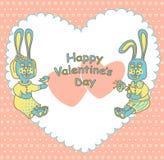 Carta per il San Valentino con i conigli romantici Immagine Stock