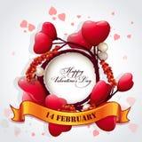 Carta per il San Valentino con i cuori e un nastro festivo Immagini Stock