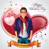 Carta per il San Valentino con i cuori ed i palloni Fotografie Stock Libere da Diritti