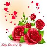 Carta per il San Valentino roses-EPS10 rosso Immagine Stock Libera da Diritti
