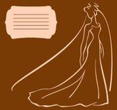 Carta per l'invito di nozze con il sillhouette della sposa illustrazione di stock