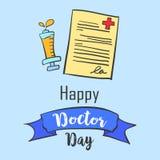Carta per la celebrazione di giorno di medico illustrazione vettoriale