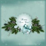 Carta a più strati d'annata per le vacanze invernali nello scrapbooking Fotografie Stock