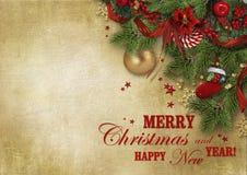 Carta piacevole di saluto di Natale con i desideri e spazio della copia per il vostro testo o foto immagine stock libera da diritti